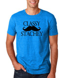 "Classy mustache stachey Mens T Shirt Black-T Shirts-Gildan-Antique Sapphire-S To Fit Chest 36-38"" (91-96cm)-Daataadirect"
