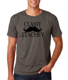 "Classy mustache stachey Mens T Shirt Black-T Shirts-Gildan-Charcoal-S To Fit Chest 36-38"" (91-96cm)-Daataadirect"