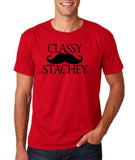 "Classy mustache stachey Mens T Shirt Black-T Shirts-Gildan-Cherry Red-S To Fit Chest 36-38"" (91-96cm)-Daataadirect"