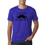 "Classy mustache stachey Mens T Shirt Black-T Shirts-Gildan-Cobalt-S To Fit Chest 36-38"" (91-96cm)-Daataadirect"