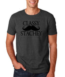 "Classy mustache stachey Mens T Shirt Black-T Shirts-Gildan-Dk Heather-S To Fit Chest 36-38"" (91-96cm)-Daataadirect"