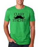 "Classy mustache stachey Mens T Shirt Black-T Shirts-Gildan-Heather Irish Green-S To Fit Chest 36-38"" (91-96cm)-Daataadirect"