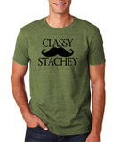 "Classy mustache stachey Mens T Shirt Black-T Shirts-Gildan-Heather Military Green-S To Fit Chest 36-38"" (91-96cm)-Daataadirect"
