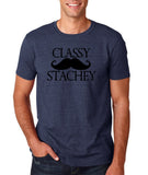 "Classy mustache stachey Mens T Shirt Black-T Shirts-Gildan-Heather Navy-S To Fit Chest 36-38"" (91-96cm)-Daataadirect"