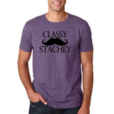"Classy mustache stachey Mens T Shirt Black-T Shirts-Gildan-Heather Purple-S To Fit Chest 36-38"" (91-96cm)-Daataadirect"