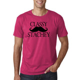 "Classy mustache stachey Mens T Shirt Black-T Shirts-Gildan-Heliconia-S To Fit Chest 36-38"" (91-96cm)-Daataadirect"