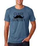 "Classy mustache stachey Mens T Shirt Black-T Shirts-Gildan-Indigo Blue-S To Fit Chest 36-38"" (91-96cm)-Daataadirect"