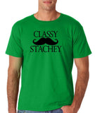 "Classy mustache stachey Mens T Shirt Black-T Shirts-Gildan-Irish Green-S To Fit Chest 36-38"" (91-96cm)-Daataadirect"
