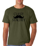 "Classy mustache stachey Mens T Shirt Black-T Shirts-Gildan-Military Green-S To Fit Chest 36-38"" (91-96cm)-Daataadirect"