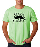 "Classy mustache stachey Mens T Shirt Black-T Shirts-Gildan-Mint Green-S To Fit Chest 36-38"" (91-96cm)-Daataadirect"