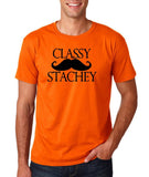 "Classy mustache stachey Mens T Shirt Black-T Shirts-Gildan-Orange-S To Fit Chest 36-38"" (91-96cm)-Daataadirect"