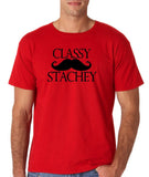 "Classy mustache stachey Mens T Shirt Black-T Shirts-Gildan-Red-S To Fit Chest 36-38"" (91-96cm)-Daataadirect"