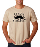 "Classy mustache stachey Mens T Shirt Black-T Shirts-Gildan-Sand-S To Fit Chest 36-38"" (91-96cm)-Daataadirect"