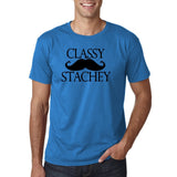 "Classy mustache stachey Mens T Shirt Black-T Shirts-Gildan-Sapphire-S To Fit Chest 36-38"" (91-96cm)-Daataadirect"