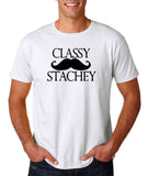 "Classy mustache stachey Mens T Shirt Black-T Shirts-Gildan-White-S To Fit Chest 36-38"" (91-96cm)-Daataadirect"
