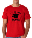 "Clueless Graduate No Idea What Doing Men T Shirt White-T Shirts-Gildan-Red-S To Fit Chest 36-38"" (91-96cm)-Daataadirect"