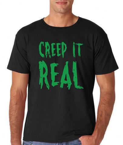 "Creep It Real Men T Shirt Green-T Shirts-Gildan-Black-S To Fit Chest 36-38"" (91-96cm)-Daataadirect"