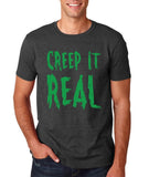 "Creep It Real Men T Shirt Green-T Shirts-Gildan-Dk Heather-S To Fit Chest 36-38"" (91-96cm)-Daataadirect"