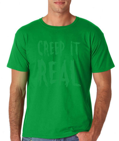 Creep It Real Men T Shirt Green-Gildan-Daataadirect.co.uk