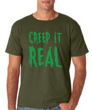"Creep It Real Men T Shirt Green-T Shirts-Gildan-Military Green-S To Fit Chest 36-38"" (91-96cm)-Daataadirect"