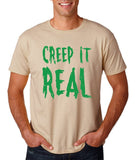 "Creep It Real Men T Shirt Green-T Shirts-Gildan-Sand-S To Fit Chest 36-38"" (91-96cm)-Daataadirect"
