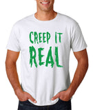 "Creep It Real Men T Shirt Green-T Shirts-Gildan-White-S To Fit Chest 36-38"" (91-96cm)-Daataadirect"