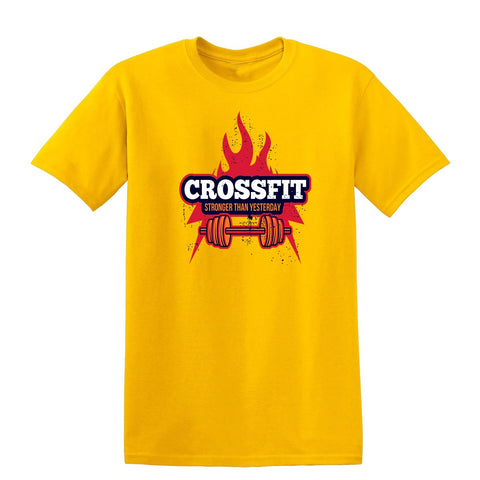 Crossfit Stronger Than Yesterday Mens T Shirts-Gildan-Daataadirect.co.uk