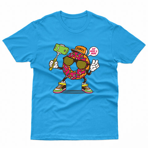 Donut Selfie Stick Character With Sneaker T-Shirt-Gildan-Daataadirect.co.uk