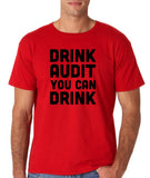 "Drink audit you can drink Black mens T Shirt-T Shirts-Gildan-Red-S To Fit Chest 36-38"" (91-96cm)-Daataadirect"