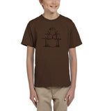 Druming sea bird Black Kids T Shirt-T Shirts-Gildan-DK Chocolate-YXS (3-5 Year)-Daataadirect