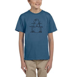 Druming sea bird Black Kids T Shirt-T Shirts-Gildan-Indigo Blue-YXS (3-5 Year)-Daataadirect