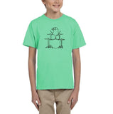 Druming sea bird Black Kids T Shirt-T Shirts-Gildan-Mint Green-YXS (3-5 Year)-Daataadirect