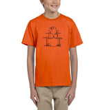 Druming sea bird Black Kids T Shirt-T Shirts-Gildan-Orange-YXS (3-5 Year)-Daataadirect