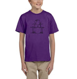 Druming sea bird Black Kids T Shirt-T Shirts-Gildan-Purple-YXS (3-5 Year)-Daataadirect