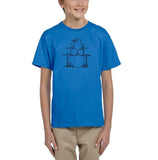 Druming sea bird Black Kids T Shirt-T Shirts-Gildan-Sapphire-YXS (3-5 Year)-Daataadirect