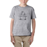 Druming sea bird Black Kids T Shirt-T Shirts-Gildan-Sport Grey-YXS (3-5 Year)-Daataadirect