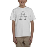Druming sea bird Black Kids T Shirt-T Shirts-Gildan-White-YXS (3-5 Year)-Daataadirect