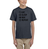 Eat sleep box repeat Black Kids T Shirt-T Shirts-Gildan-Charcoal-YXS (3-5 Year)-Daataadirect
