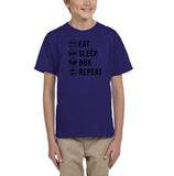 Eat sleep box repeat Black Kids T Shirt-T Shirts-Gildan-Cobalt-YXS (3-5 Year)-Daataadirect