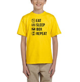 Eat sleep box repeat Black Kids T Shirt-T Shirts-Gildan-Daisy-YXS (3-5 Year)-Daataadirect
