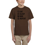 Eat sleep box repeat Black Kids T Shirt-T Shirts-Gildan-DK Chocolate-YXS (3-5 Year)-Daataadirect