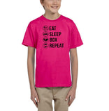 Eat sleep box repeat Black Kids T Shirt-T Shirts-Gildan-Helconia-YXS (3-5 Year)-Daataadirect