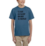 Eat sleep box repeat Black Kids T Shirt-T Shirts-Gildan-Indigo Blue-YXS (3-5 Year)-Daataadirect