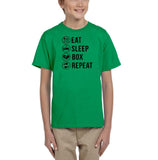 Eat sleep box repeat Black Kids T Shirt-T Shirts-Gildan-Irish Green-YXS (3-5 Year)-Daataadirect