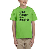 Eat sleep box repeat Black Kids T Shirt-T Shirts-Gildan-Kiwi-YXS (3-5 Year)-Daataadirect