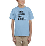 Eat sleep box repeat Black Kids T Shirt-T Shirts-Gildan-Light Blue-YXS (3-5 Year)-Daataadirect