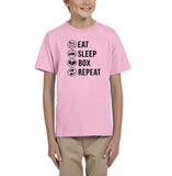 Eat sleep box repeat Black Kids T Shirt-T Shirts-Gildan-Light Pink-YXS (3-5 Year)-Daataadirect