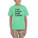 Eat sleep box repeat Black Kids T Shirt-T Shirts-Gildan-Mint Green-YXS (3-5 Year)-Daataadirect