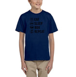 Eat sleep box repeat Black Kids T Shirt-T Shirts-Gildan-Navy Blue-YXS (3-5 Year)-Daataadirect