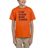 Eat sleep box repeat Black Kids T Shirt-T Shirts-Gildan-Orange-YXS (3-5 Year)-Daataadirect